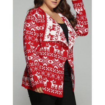 Christmas Jacquard Cute Plus Size Cardigan - RED 3XL