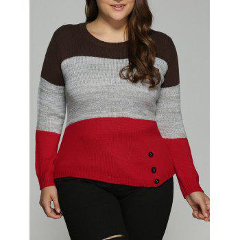 Plus Size Color Block Pullover Knit Sweater