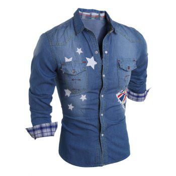 Flag Star Printed Long Sleeve Pocket Denim Shirt