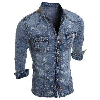 Buy Long Sleeve Pocket Design Star Printed Denim Shirt LIGHT BLUE