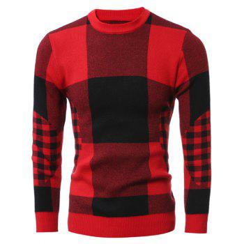 Slim-Fit Crew Neck Checked Sweater