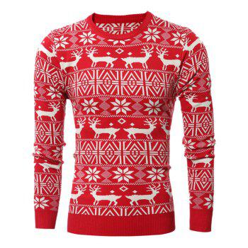 Crew Neck Deer Pattern Christmas Snowflake Sweater