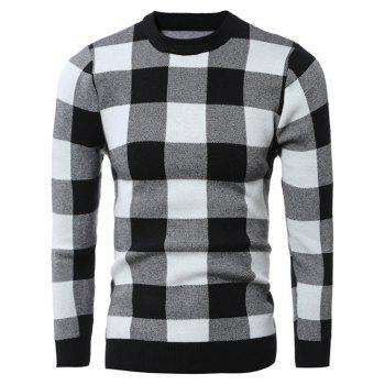 Slim-Fit Crew Neck Checked Pullover Sweater