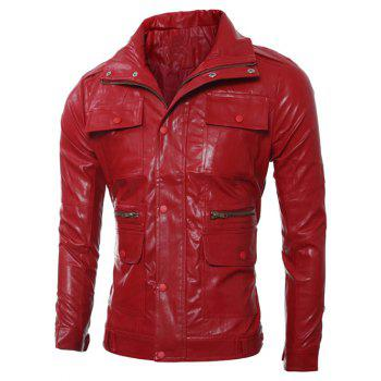 Slim-Fit Multi Pocket Zipper Design PU Leather Jacket