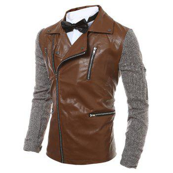 Oblique Jacket Zip-Up multi Zipper PU épissage - café M