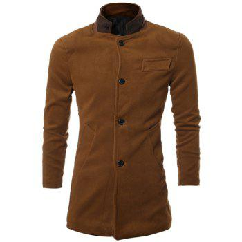 PU Spliced Stand Collar Single Breasted Coat