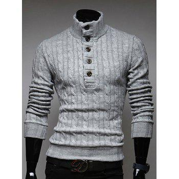 Half Button Up Stand Collar Twist Sweater