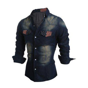 Snap Button Up Pockets Front Flag Pattern Denim Shirt