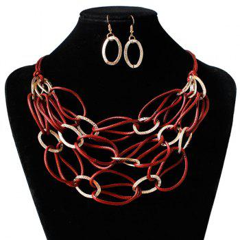 Interlace PU Leather Woven Necklace Set