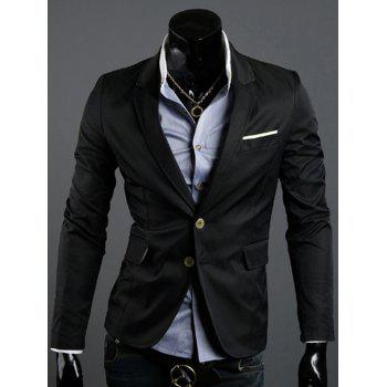Notch Lapel Back Vent Single Breasted Blazer