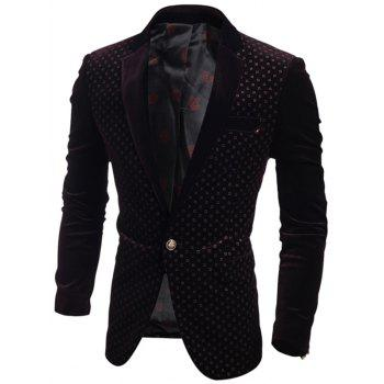 Corduroy Tiny Printed Breast Pocket One-Button Blazer