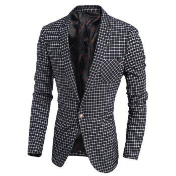 Chest Pocket Single Breasted Notch Lapel Gingham Blazer