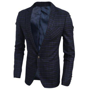Breast Pocket Plaid Notch Lapel Single Button Blazer