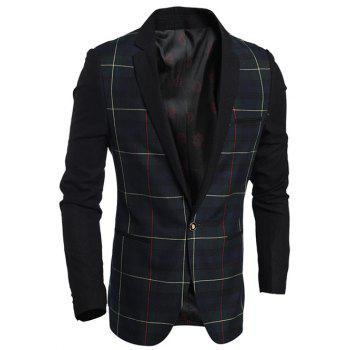 Notch Lapel Double Welt Pocket Plaid One-Button Blazer