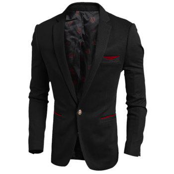 Contrast Trim Pocket Notch Lapel Texture Blazer