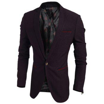 Notch Lapel Contrast Trim Pocket One-Button Blazer