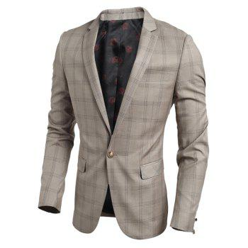 Single Breasted Notch Lapel Chest Pocket Plaid Blazer