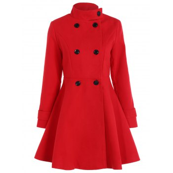 Double Breasted Skirted Coat
