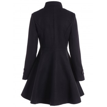 Double Breasted Skirted Coat - BLACK 2XL