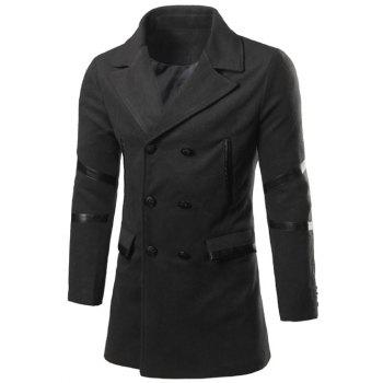 Faux Leather Insert Back Vent Notch Lapel Pea Coat