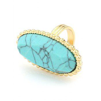 Beaded Edge Faux Turquoise Oval Ring - TURQUOISE
