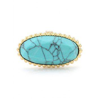 Beaded Edge Faux Turquoise Oval Ring
