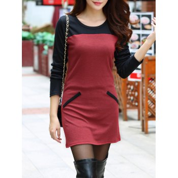Faux Pocket Color Block Mini Dress