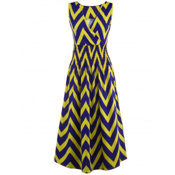 Bohemian Plunge Neck Sleeveless Zig Zag Dress