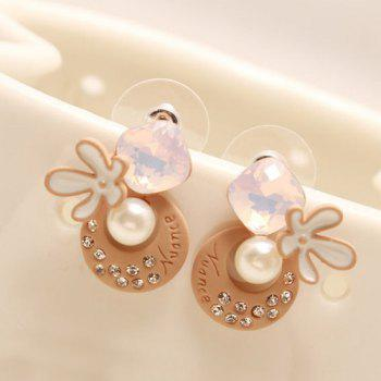 Rhinestone Faux Pearl Moon Flower Earrings