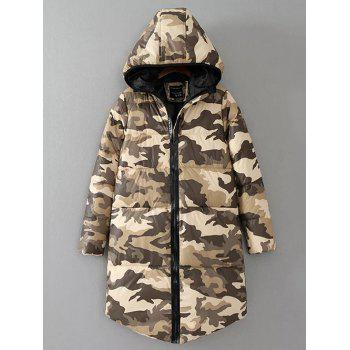 Zip Up Camo Print Hooded Puffer Coat