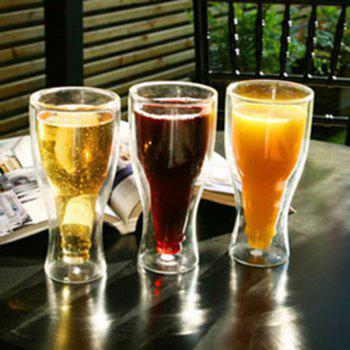 Creative Double Inverted Beer Water Glass -  TRANSPARENT