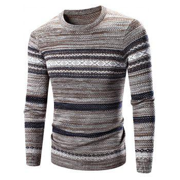 Waviness Splicing Pattern Crew Neck Long Sleeve Sweater