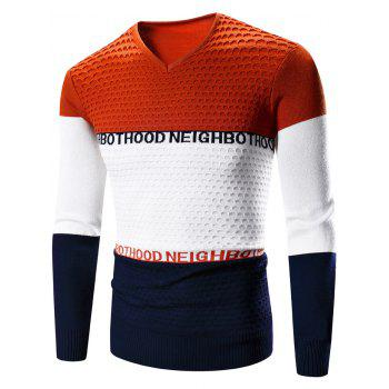 Color Block Splicing Graphic Print Crew Neck Long Sleeve Sweater