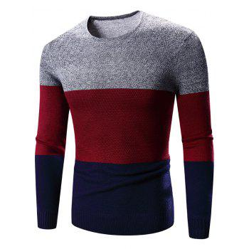 Color Block Spliced Crew Neck Long Sleeve Sweater