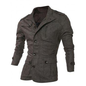 Turn-Down Collar Single-Breasted Epaulet Design Pockets Jacket