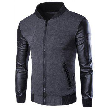 PU-Leather Spliced Stand Collar Zip-Up Jacket