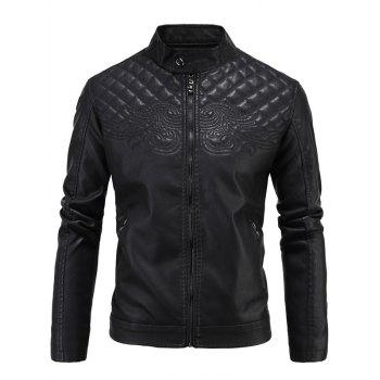 PU-Leather Embroidered Fleece Thicken Zip-Up Jacket