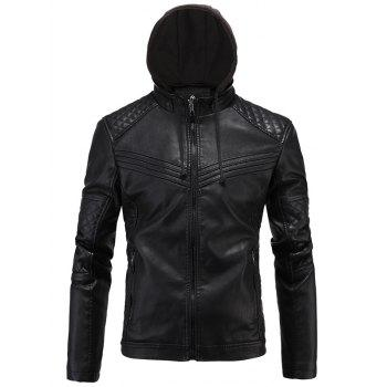 Argyle Spliced Fleece Zip-Up PU-Leather Jacket