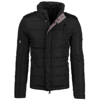 Epaulet Design Zip-Up Elbow Patch Padded Jacket
