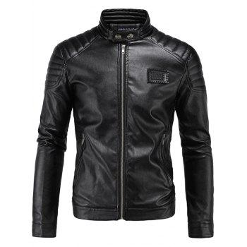 Applique Rib Splicing PU-Leather Zip-Up Jacket