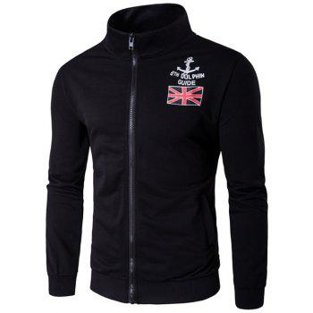 Anchor and Union Jack Print Zip-Up Jacket