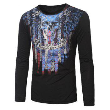 Crew Neck Long Sleeve Skull and Striped Print T-Shirt