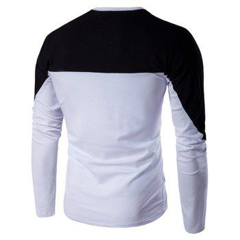 Color Block Triangle Applique Long Sleeve T-Shirt - BLACK 3XL