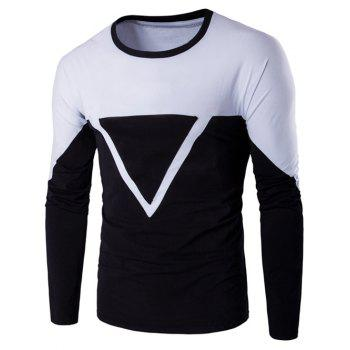 Color Block Triangle Applique Long Sleeve T-Shirt