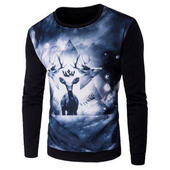 3D Deer Print Crew Neck Long Sleeve Sweatshirt