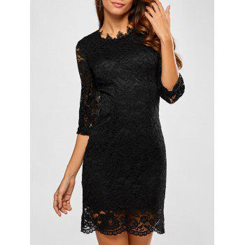 Slimming Lace Scalloped Dress