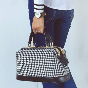 Metal Trimmed PU Splice Houndstooth Tote