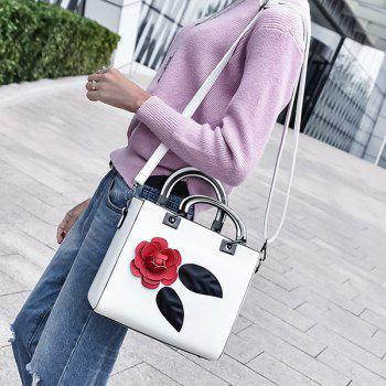 Petals Color Block PU Leather Handbag