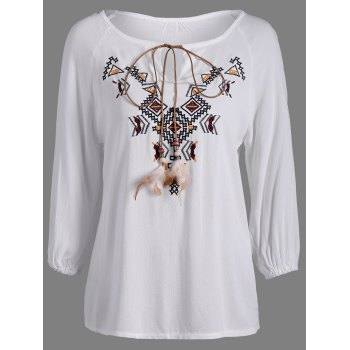 Embroidered Long Sleeve Peasant Blouse