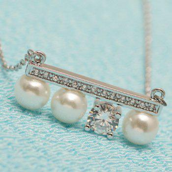 Rhinestone Faux Pearl Beads Pendant Necklace